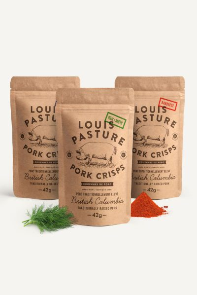 case of mixed flavoured Pork Crisps keto snacks made on Vancouver Island in Errington by Primal Sisters
